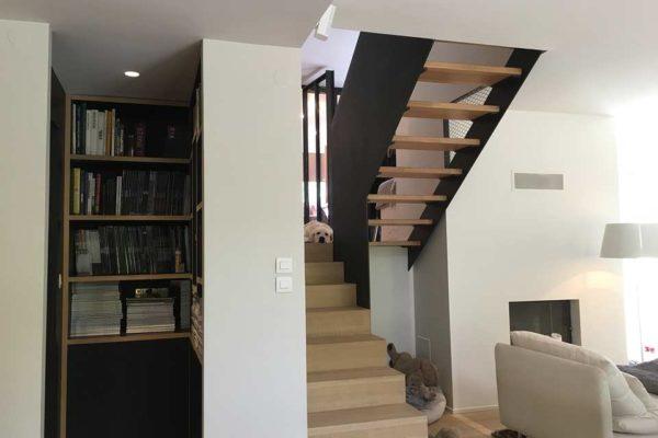 Escalier industriel bois métal