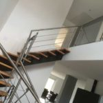 Escalier limon central garde-corps inox 3
