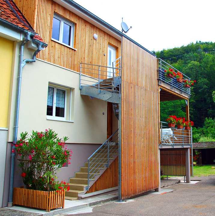 escalier extérieur acier bois 2